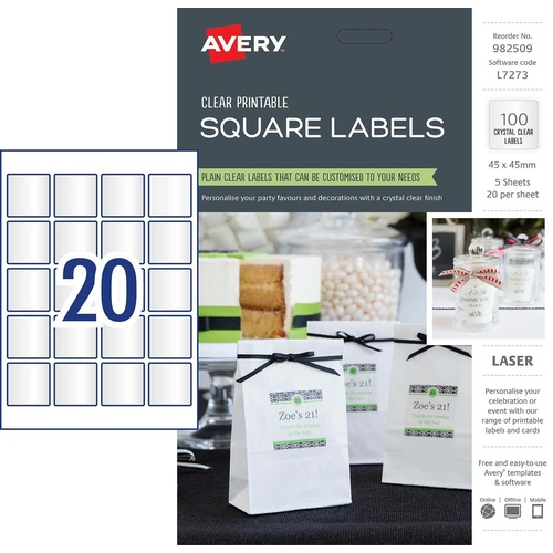 Avery Printable Square Labels L7273 45mm x 45mm Plain Clear 100 Pack - 982509