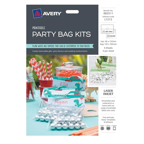 Avery L7272 Party Bags Laser Printable Top White 20 Pack - 982511
