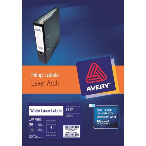 5 X Avery L7171 Laser Lever Arch Labels 4 UP 25 Pack - 959035