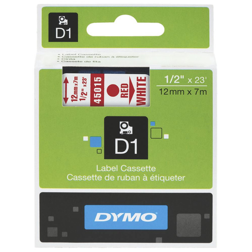 Dymo Label Tape 12mm x7m Water Resistant - Red on White