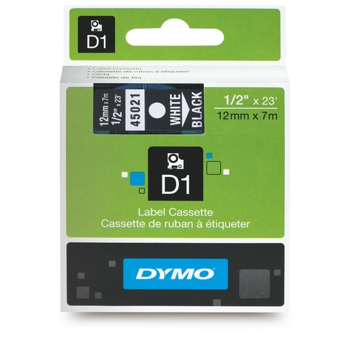 Dymo Label Tape D1 12mm x 7m Water Resistant - White on Black