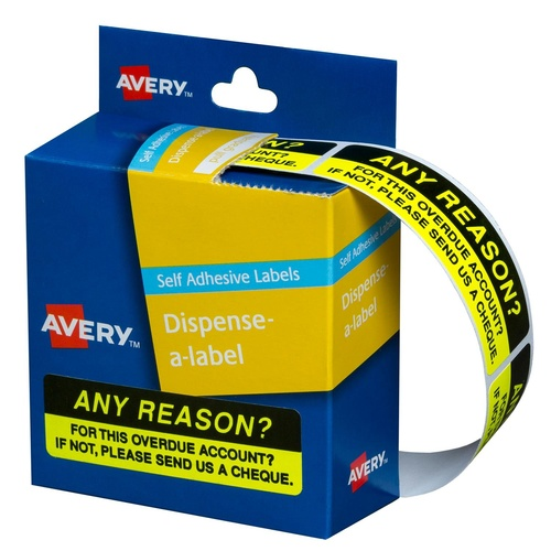 "Avery Dispenser Labels ANY REASON 19X64mm (5x125 Labels) ""5 PACK"" - 937262"