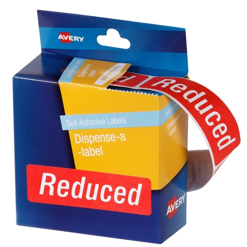 Avery Dispenser Labels REDUCED Red 64X19mm Removable (250 Labels) - 937320