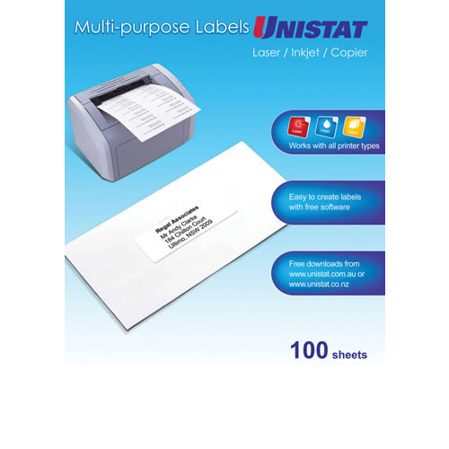 Unistat White Multi Purpose Labels 1 Labels/Sheet  297x210mm - 100 Pack