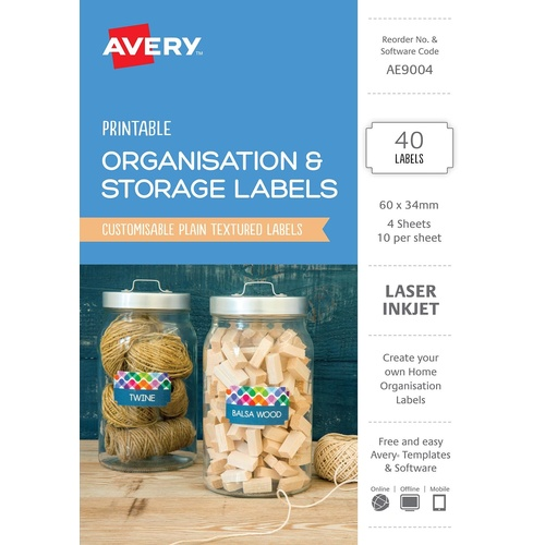 Avery AE9004 Labels Printable Organisation & Storage 40 Per Pack - White