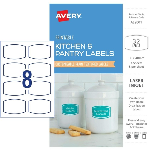 Avery AE9011 Labels Printable Kitchen & Pantry 32 Per Pack -  White