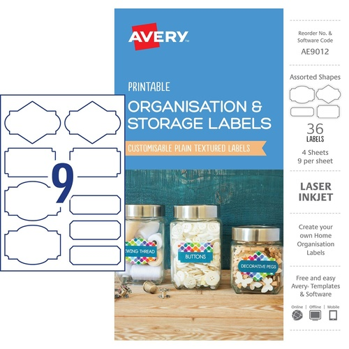 Avery AE9012 Labels Printable Organisation & Storage Assorted 40 Per Pack - White