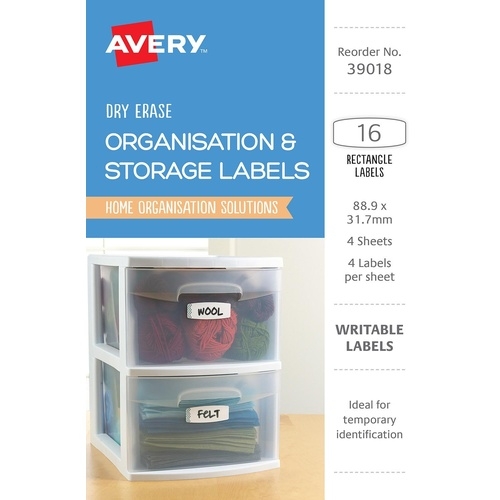 Avery 39018 Labels Writable Organisation & Storage Rectangle 16 Per Pack