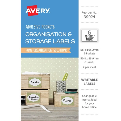 Avery 39024 Labels Writable Organisation & Storage Adhesive Pockets & Inserts 6 Per Pack