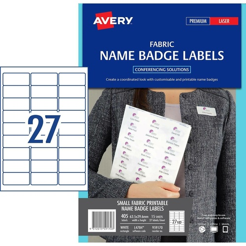 Avery L4784 Laser Labels Fabric Name Badge Labels Acetate Silk 15 Pack - 959170