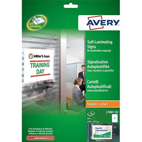Avery L7087-10 Self-Laminating Adhesive Signs 1 Up 170x257mm - 10 Pack