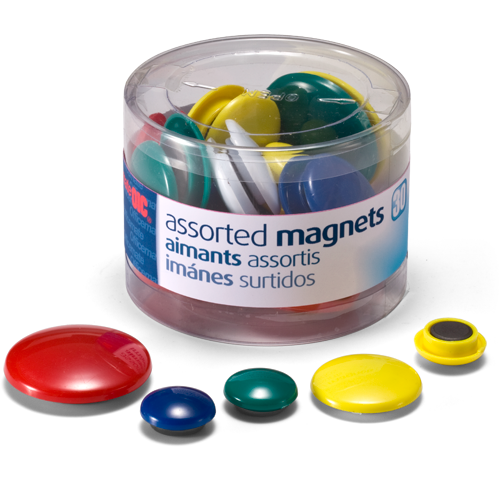 Rankworth Magnetic Buttons, Magnets for Whiteboard, Assorted Sizes &  Colours - Tub 30