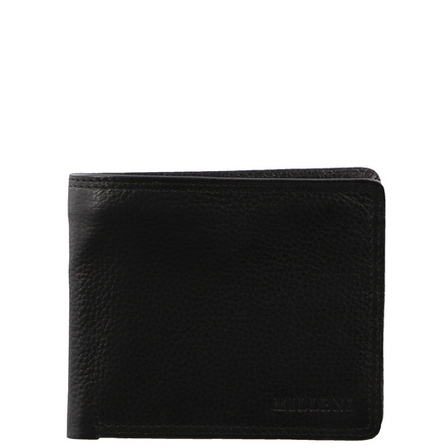 Mens Genuine Leather Wallet Zipper Notes and Coins With Card Compartment - Black