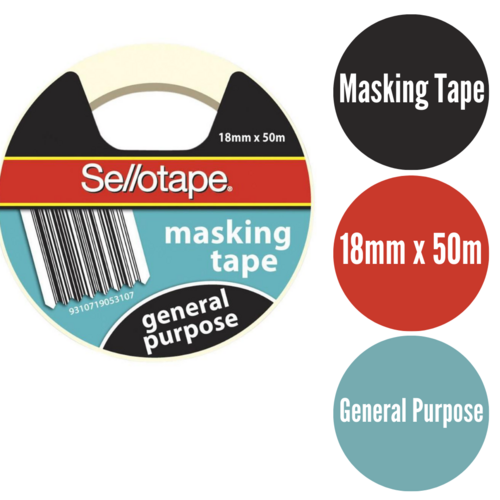 Sellotape Masking Tape General Purpose 18mmx50m - Cream