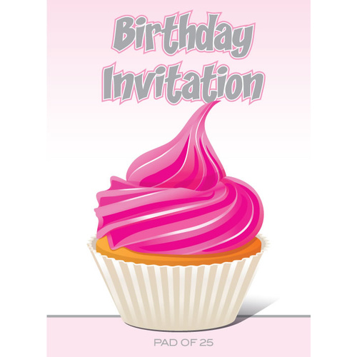Ozcorp Invitation Pad 25 Sheets 145x195mm - Hot Pink Cupcake Design