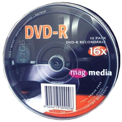 Magmedia DVD-R 120min 16x 4.7GB Spindle 10 Pack