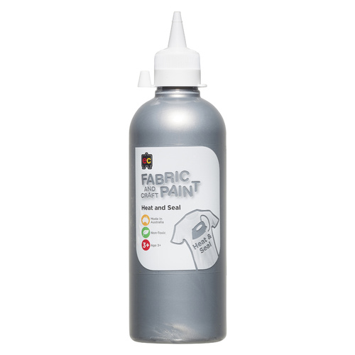 EC Paint Fabric And Craft Paint Heat And Seal Non Toxic 500ml - Silver