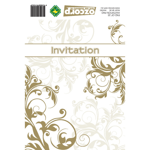 Ozcorp Invitation Pad 25 Sheets 145x195mm - Gold Linework