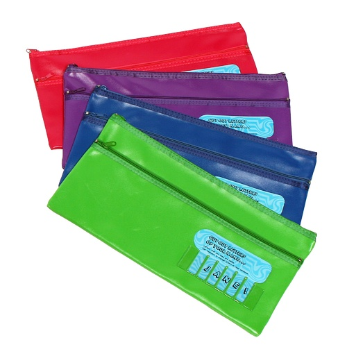 Marbig Large 2 Zipped Pencil Case 31cm x 17cm With Name - Assorted Colours