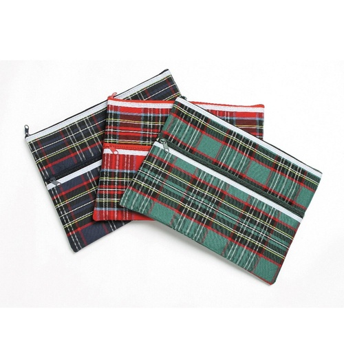 Marbig Giant 2 Zippers Pencil Case 36cm x 25.5cm Tartan
