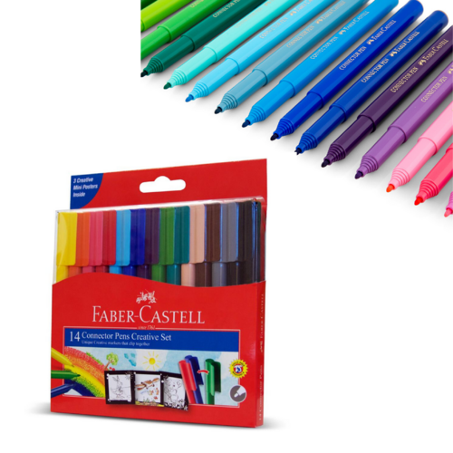 Faber Castell Connector Marker Pens Assorted Art Set - 14 Pack