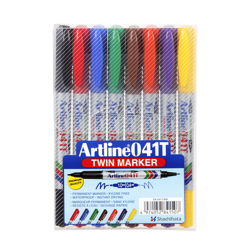 Artline 041T Permanent Marker Twin Tip Assorted Colours - 8 Pack