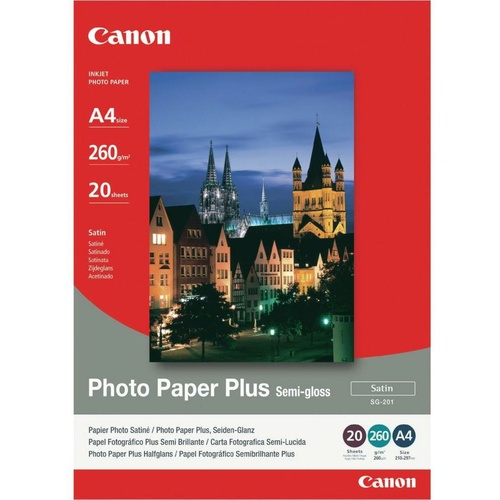 Canon Genuine A3 Photo Paper SG-201 Inkjet Semi Gloss 260gsm - 20 Pack