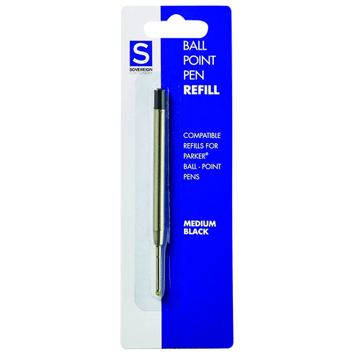 Sovereign Parker Pen Refill Ball Point Medium 10 Pack - Black