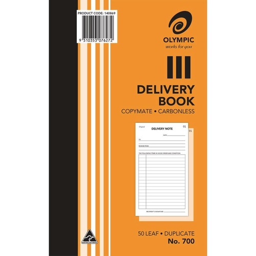 "Olympic 700 Delivery Book 8 X 5"" Carbonless Duplicate 100 Leaf"