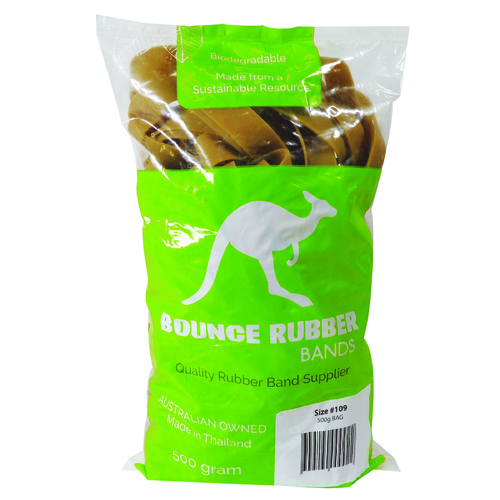 Bounce No.109 Biodegradable Rubber Bands - 500gm Bag
