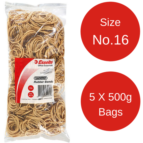 "5 x Esselte No 16 Rubber Bands 500gm Bag ""BULK BUY"""