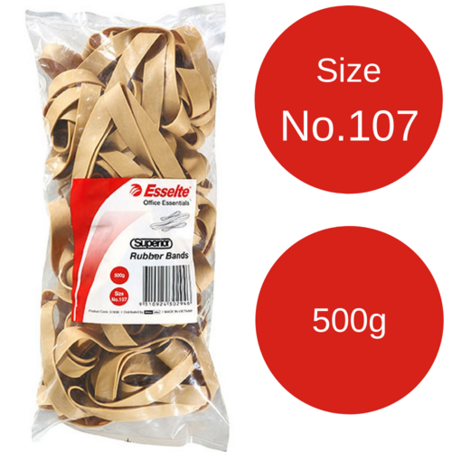 Esselte No.107 Superior Rubber Bands - 500gm Bag