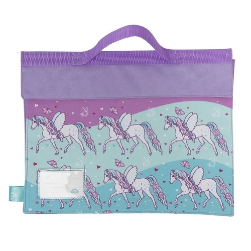 Spencil Library School Book Bag Velcro Fastening & Handle - Peony Pony
