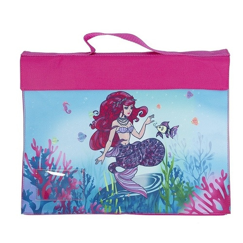 Spencil Library School Book Bag Velcro Fastening & Handle - Magical Mermaid