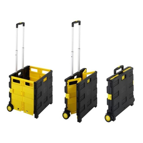 Duras Collapsible Storage Trolley Lightweight 35kg  - Black & Yellow