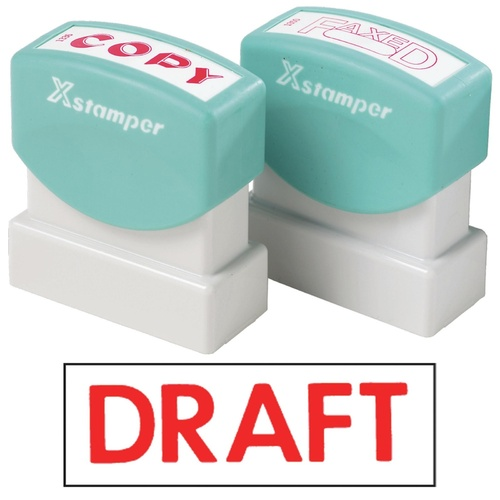 X-Stamper Self Inking Ink Stamp DRAFT Pre-Inked, Re-inkable Up To 100,000 Impressions - 1068