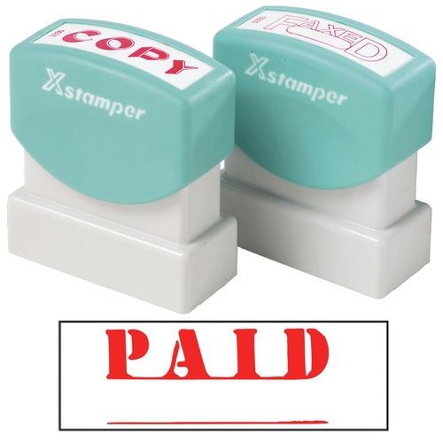 X-Stamper Self Inking Ink Stamp PAID RED Pre-Inked, Re-inkable Up To 100,000 Impressions - 1221