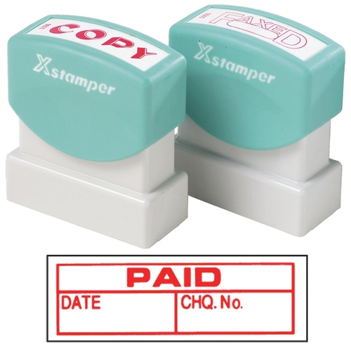 X-Stamper Self Inking Ink Stamp PAID/DATE/CHQ Pre-Inked, Re-inkable Up To 100,000 Impressions - 1533
