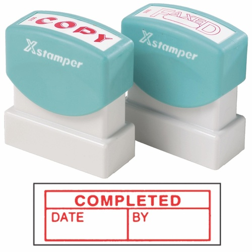 X-Stamper Self Inking Ink Stamp COMPLETED-DATE-BY RED Pre-Inked, Re-inkable Up To 100,000 Impressions - 1542