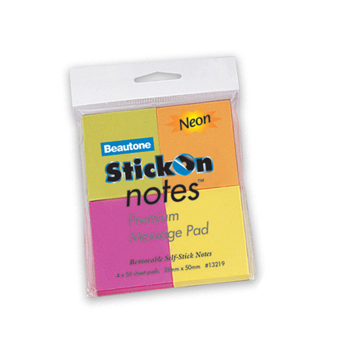 Beautone Stick On Notes 38x50mm Neon Colours - 4 Pack