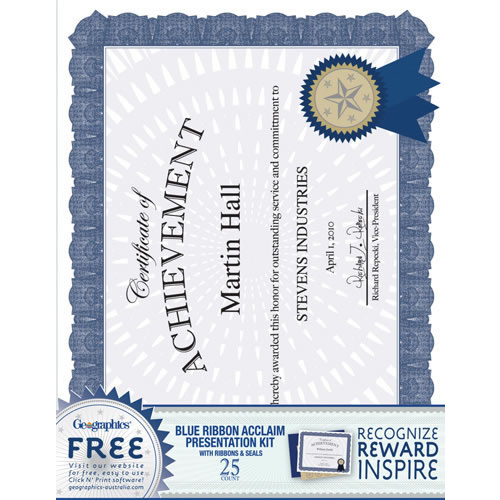 Geographics A4 Certificate Paper Kit 25 Pack - Blue Ribbon Acclaim Design