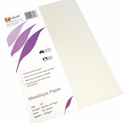 Quill Metallique A4 Metallic Specialty Paper 120gsm 25 Pack - Mother of Pearl