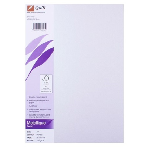 Quill Board Metallique 285GSM A4 Pack 25 - Peridot