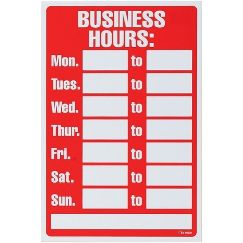 "Headline Sign ""BUSINESS HOURS"" 203X305mm"