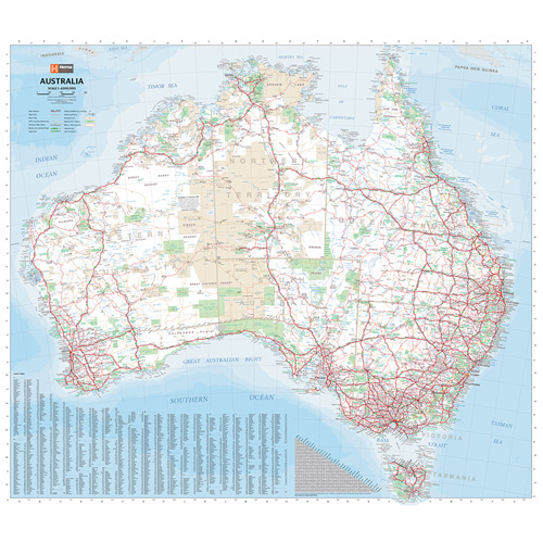 Map Hema Australia Wall Map Laminated In Tube 1000 x 875mm