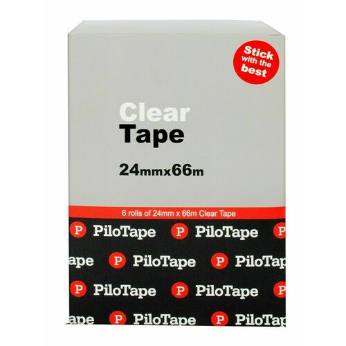 PiloTape Self Adhesive Clear General Tape 24mmx66m In Reuasable Tin - Pack 6