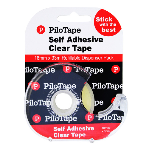12 X PiloTape Self Adhesive Clear General Tape 18mmx33m On Dispenser