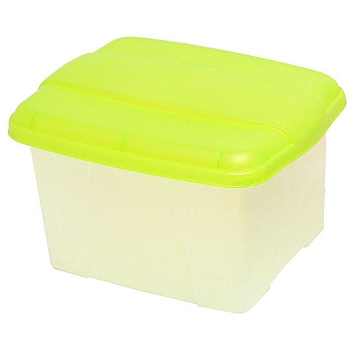 Crystalfile PortaFile Carry Case Box 32 Litre Clear Base - Lime Lid