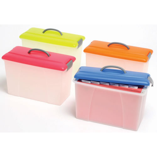 Crystalfile PortaFile Carry Case Box 18 Litre Clear Base - Orange Lid