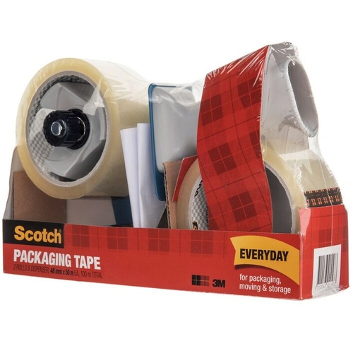 Scotch Sealing Packaging Tape BPS-1 Dispenser + 2 Tapes 48mm x 50m
